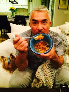 Cesar cozying up for the evening with a yummy meal sent by his good friend Marco Borges, Founder of 22 Day Nutrition. #Healthy