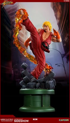 The Ken Masters 1:4 Ultra Statue with Dragon Flame is available at Sideshow.com for fans of Street Fighter IV and video game collectibles.