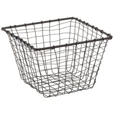 """X-Small Marche Basket Rustic Steel 7"""" sq x 5"""" h   Containerstore.com   for organizing dog stuff"""