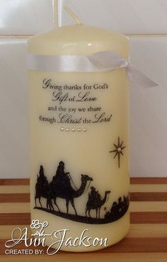 First attempt stamping on a candle. Used Stampin' Up's 'Come to Bethlehem' stamp set.