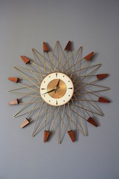Vintage Mid-Century Star Burst Wall Clock by Welby   MIDCENTURY MODERN FINDS
