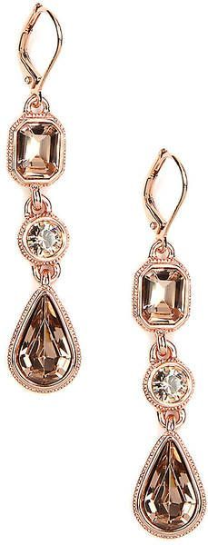 Givenchy Rose Goldtone Crystal Drop Earrings   ~ Colette Le Mason @}-,-;---