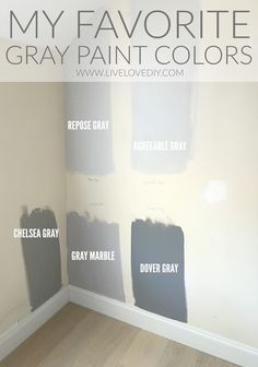 The BEST gray paint colors revealed! The BEST gray paint colors revealed! Interior Paint Colors, Paint Colors For Home, House Colors, Living Room Paint Colors, Hallway Paint Colors, Popular Paint Colors, Farmhouse Paint Colors, Bathroom Paint Colors, Gray Interior