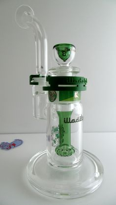 Illadelph - Showerhead Disc Bubbler with Green Label - Illadelph Vault - Illadelph Glass Beakers, Tubes, Bubblers and Oil Rigs Oil Rig, Bongs, Kitchen Aid Mixer, Shower Heads, Label, Canning, Glass, Green, Drinkware