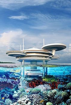 A futuristic-looking luxury hotel made up of spaceship-like discs that recalls Star Trek's Enterprise is set to be built partially underwater in the Maldives. Futuristic City, Futuristic Technology, Futuristic Architecture, Amazing Architecture, Minecraft Underwater, Underwater City, Under The Water, Floating Architecture, Technology World