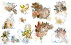 Creature sketches, watercolor and color pencils