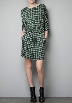 Multicolor Geometric Print Sevens Sleeve Cotton Blend Dress!