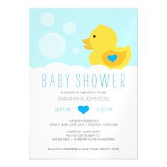 Rubber Ducky Bubble Bath Boy Baby Shower Magnetic Card