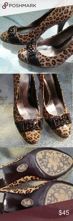Sofft animal print leather heels Very nice pair of Sofft animal print pumps.  Never worn.  Size 8.5m  very comfortable and cute shoes.  Perfect for work or a night out Sofft Shoes Heels
