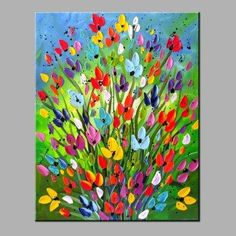 GearBest - Gearbest YHHP Hand Painted Colorful Flowers Wall Art Home Decoration Handmade Oil Painting - AdoreWe.com