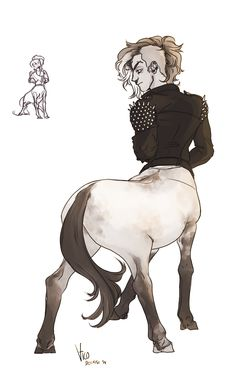deerishus:  I can't resist centaurs have been all over my dash lately, so i'm starting a group of teen punk centaurs with dyed tails and bad words shaved into their sides, and studded jackets and spiked horseshoes YEAH. YEAH.