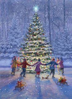 Leading Illustration & Publishing Agency based in London, New York & Marbella. Winter Christmas Scenes, Christmas Swags, Merry Little Christmas, Vintage Christmas Cards, Christmas Love, Christmas Design, Christmas Pictures, Christmas Decorations, Xmas
