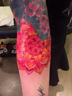 http://tattooideas247.com/bright-mandala/ Bright Mandala Tattoo #ARM, #Bright, #Colorful, #Floral, #Flowers, #Mandala, #Orange, #Red