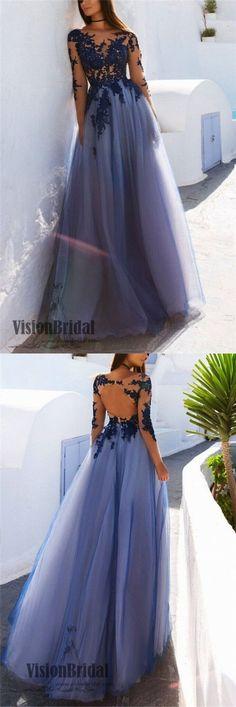Purple Scoop Neckline Long Sleeves Lace Yarn Top Prom Dress, Open Back A-Line Long Prom Dress, Prom Dresses, VB0273 #promdress #longpromdresses