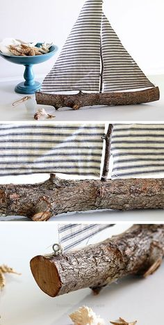 Beautiful DIY Rustic Sailboat Made from Twigs and Scrap Fabric | 27 DIY Rustic Decor Ideas for the Home | DIY Rustic Home Decorating on a Budget  The post  DIY Rustic Sailboat Made from Twigs and ..