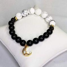 Matte White Howlite Gold Moon Charm Bracelet, Black Obsidian Beads for Insomnia, Anxiety Relief & Emotional Healing, Gemstone Bracelets, Gemstone Jewelry, Moon Charm, Anxiety Relief, Stress, Charmed, Etsy Shop, Gemstones, Beads