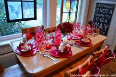 Beautiful Valentine's Day Table Settings & A Clever Idea for Candle Storage – Between Naps on the Porch Valentines Day History, Fun Valentines Day Ideas, Valentine Day Crafts, Happy Valentines Day, Happy Love Day, Beautiful Table Settings, Holiday Tables, Valentine Decorations, Decorating Blogs