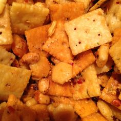 New Firecracker recipe, 8 cups crackers (Cheese It's; white & yellow cheese, mini saltines, & oyster cracker), 1 cup dry roasted peanuts, mix in a large sealable bowl. Mix in another bowl 3/4 cup canola oil, 1 pkg dry Ranch Dressing, 2 Tsp crushed red peppers and 2 dashes hot sauce. Pour over crackers, toss several times over the next 2-3 hrs. Ready to eat!!! Stays good for several weeks in a airtight container.