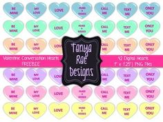 {FREE} Valentine Conversation Hearts Clip Art: 42 hearts! (personal & commercial use OK)