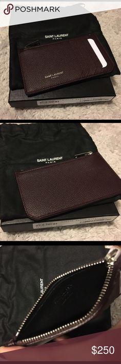 SAINT LAURENT WALLET / CARD HOLDER SAINT LAURENT brown leather wallet/card holder -- UNISEX -- NEW never used, with TAG and BOX. Includes leather swatch and cloth bag Saint Laurent Bags Wallets