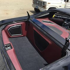 DJ Designs 70 chevelle custom interior red black grey, rear deck trunk, and door panels. grilles #BecauseSS