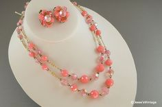 Pink Necklace Multi Strand Plastic & Glass Givre by JessesVintage, $14.99