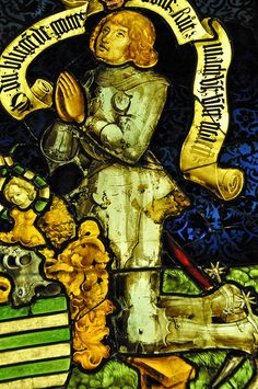 Portrait of the Donor Knight Stained Glass, 1483 at the Musée de Cluny - Paris France by mbell1975, via Flickr