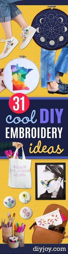Free Embroidery Patterns - Best Embroidery Projects and Step by Step DIY Tutorials for Making Home Decor, Wall Art, Pillows and Creative Handmade Sewing Gifts - Machine Ideas and Hand Sewn Ideas for Beginners - Quotes, Modern Art, Flowers, Christmas Decor, Kitchen Towels and Easy Applique Designs http://diyjoy.com/free-embroidery-patterns #Embroideryforbeginners