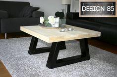 Salontafel met een robuust en industrieel karakter. Te verkrijgen met een steigerhouten blad en stalen onderstel. Eenvoudig te bestellen via http://www.design85.nl/salontafel-magma.html