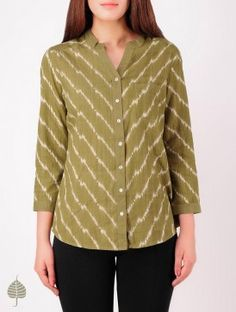 Olive - Ecru Hand woven Ikat Cotton Top by Jaypore Office Wear Women Work Outfits, Casual Work Outfits, Stylish Outfits, Short Kurti Designs, Kurta Designs Women, Crop Top Designs, Tunic Designs, Kurta Patterns, Frock Patterns