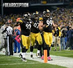 Beardception! Pitsburgh Steelers, Pittsburgh Steelers Football, Pittsburgh Sports, Football Team, Football Helmets, Steelers Stuff, Steelers Terrible Towel, Steeler Nation, Girl Pictures