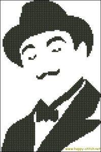Hercule Poirot free cross stitch pattern » Happy Stitch #monochrome #celebrities