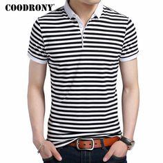 a0f6afea5ca6 Fashion Striped Turn-down Collar Short Sleeve T-Shirt 100% Pure Cotton –