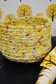 Crochet basket - cute thing to do with scrap yarn, maybe?