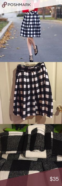 """Chicwish Gingham Checked Skirt Black and white gingham skirt. Side zip; the belt is attached, though it's adjustable in the front. Waist is about 14.5"""" flat and length is about 24"""". The skirt in the cover photo is the same skirt. chicwish Skirts"""