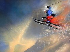 Ski jumping 03 - painting by miki de goodaboom - contemporary painting, sports Sports Painting, Painting Snow, Figure Painting, Mountain Waterfall, Ski Jumping, Sports Art, Extreme Sports, Background S, Contemporary Paintings