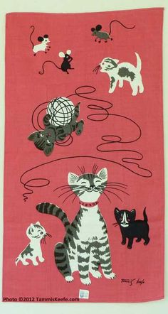 Mother cat, kittens, and mice vintage linen tea towel by Tammis Keefe