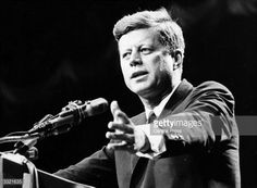 US statesman John F Kennedy, 35th president of the USA, making a speech.