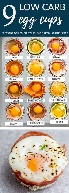 Breakfast meal prep - Baked Egg Cups 9 different ways are the perfect low carb and protein packed breakfast Best of all, these baked eggs are super simple to customize and come together in less than 20 minutes! Bacon, C Protein Packed Breakfast, Breakfast Cups, Make Ahead Breakfast, Low Carb Breakfast, Breakfast For Dinner, Breakfast Ideas, Breakfast Casserole, Bacon Breakfast, Meal Prep Breakfast