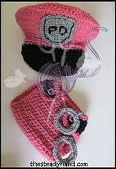 Ravelry: Newborn Police Hat and Diaper Cover Set Crochet Pattern pattern by Aprile Mazey