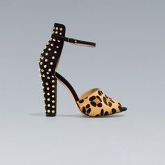 Zara leopard gold studded ankle strap heel Worn once great condition like new with box with extra studs .... also have them in black still debating about selling  the black ones  Firm Price Zara Shoes