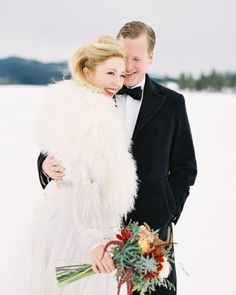 Stay warm at your winter wedding with a fur wrap.
