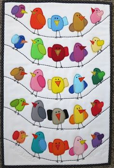 67 ideas for patchwork quilt applique birds Applique Patterns, Applique Designs, Quilt Patterns, Patchwork Quilting, Applique Quilts, Bird Applique, Hand Quilting, Mini Quilts, Baby Quilts