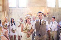 indoor wedding recessionals - photo by Joleen Willis http://ruffledblog.com/handcrafted-sonora-wedding