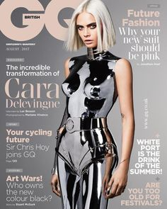 Model and actress Cara Delevingne lands the August 2017 cover of GQ UK. Photographed by Mariano Vivanco, the face of Chanel gets futuristic wearing a metallic silver bodysuit. Stylist Teddy Czopp makes sure Cara looks like a sexy robot in the accompanying Look Fashion, Fashion Models, High Fashion, Fashion Blogs, Latex Fashion, Fashion Editor, Fast Fashion, Delevigne Cara, Cara Delevingne Photoshoot
