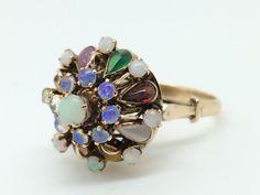 Antique Thai Princess Ring  Opal and Rainbow by EstateJewelryMama