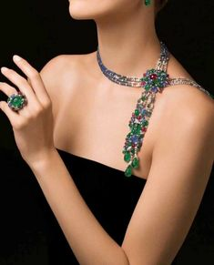 """Cartier """"Tutti Frutti"""" Necklace and Ring with Emerald, Ruby, Sapphire and Diamonds High Jewelry, Luxury Jewelry, Body Jewelry, Jewelry Sets, Beaded Jewelry, Jewelry Accessories, Jewelry Necklaces, Jewelry Design, Unique Jewelry"""
