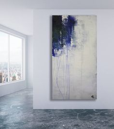 Large Blue Grey and White Abstract Painting / Texture