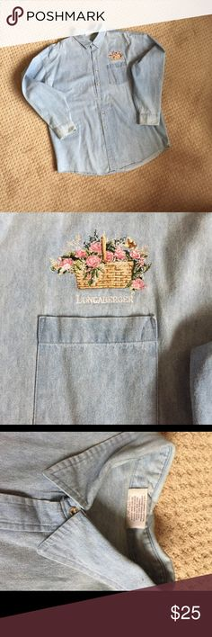 "Embroidered Longaberger Denim Top XXL Women's Denim long sleeve shirt.  Light denim color in excellent shape. Embroidered Longaberger basket above the front pocket. Nice layering piece. Measures 26"" armpit to armpit. 2X/3X may fit. From Longaberger shop in Dresden Ohio. Tops Tees - Long Sleeve"