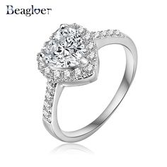 Love Style Heart Ring Gold /Silver Plated Micro Pave Clear AAA Cubic Zirconia Promise Ring For Women CRI0004